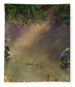 Sunglow Heron Fleece Blanket