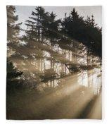 Sunlight Breaks Through The Fog Fleece Blanket