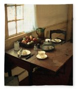 Sunlight On Dining Table Fleece Blanket