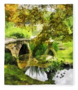 Sunlit Bridge In Park Fleece Blanket