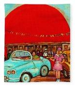 Sunny Day At The Big Orange Julep  Montreal Road Side Diner Carole Spandau Fleece Blanket