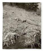 Sunny Gator Sepia  Fleece Blanket