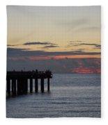 Sunny Isles Fishing Pier Sunrise Fleece Blanket