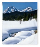 Sunny January Day Sawtooth Mountains Fleece Blanket