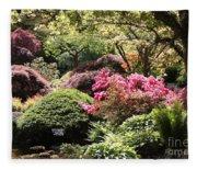 Sunny Japanese Garden Fleece Blanket