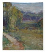 Sunny Morning In The Park -wetlands - Original - Textural Palette Knife Painting Fleece Blanket