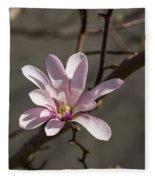 Sunny Pink Magnolia Blossom Fleece Blanket