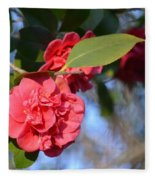 Sunny Red Camelias Fleece Blanket