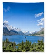 Sunny Saint Mary Lake Fleece Blanket