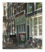 Sunny Street In Amsterdam Fleece Blanket