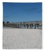 Sunny Day At Naples Pier Fleece Blanket