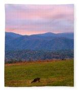 Sunrise And Deer In Cades Cove Fleece Blanket