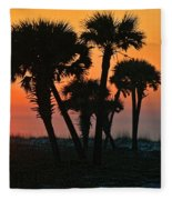 Sunrise And Group Of Palm Trees Fleece Blanket