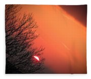 Sunrise And Hibernating Tree Fleece Blanket
