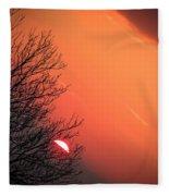 Sunrise And Hibernating Tree Fleece Blanket