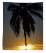 Sunrise And Palm Tree Fleece Blanket