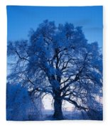 Sunrise And Tree Fleece Blanket