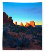 Sunrise At Arches National Park Fleece Blanket