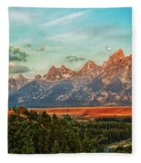 Sunrise At Grand Tetons Fleece Blanket