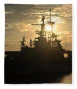 Sunrise At The Naval Base Silhouette Erie Basin Marina V1 Fleece Blanket