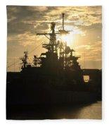 Sunrise At The Naval Base Silhouette Erie Basin Marina V3 Fleece Blanket