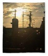 Sunrise At The Naval Base Silhouette Erie Basin Marina V4 Fleece Blanket