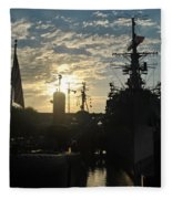 Sunrise At The Naval Base Silhouette Erie Basin Marina V5 Fleece Blanket