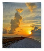 Sunrise Colors Over Navarre Beach With Stormclouds Fleece Blanket