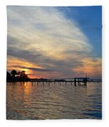 Sunrise Colors With Red Sky At Morning Sailor's Warning Fleece Blanket