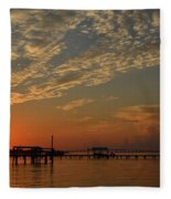 Sunrise Colors With Storms Building On Sound Fleece Blanket