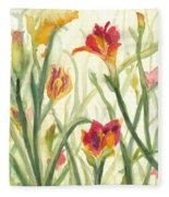 Sunrise Flowers Fleece Blanket