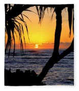Sunrise Fuji Beach Kauai Fleece Blanket