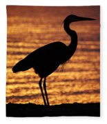 Sunrise Heron Fleece Blanket