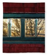 Sunrise In Old Barn Window Fleece Blanket