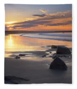Sunrise On A Beach Near The Port Fleece Blanket