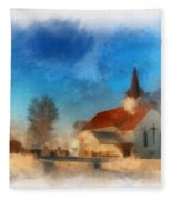 Sunrise On A Rural Church 03 Fleece Blanket