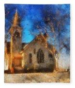 Sunrise On A Rural Church 12 Fleece Blanket