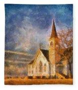 Sunrise On A Rural Church 13 Fleece Blanket