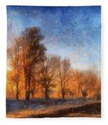 Sunrise On A Rural Country Road Photo Art 02 Fleece Blanket