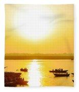 Sunrise On Ganges Fleece Blanket