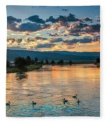 Sunrise On The North Payette River Fleece Blanket