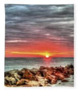 Sunrise Over Breech Inlet On Sullivan's Island Sc Fleece Blanket