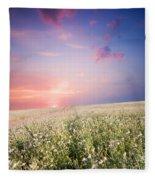 Sunrise Over Flower Land Fleece Blanket