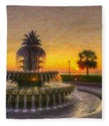 Sunrise Over Pinapple Fountain Fleece Blanket