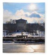 Sunrise Over The Art Museum In Winter Fleece Blanket