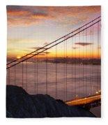 Sunrise Over The Golden Gate Bridge Fleece Blanket