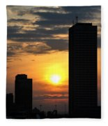 Sunrise Silhouette Buffalo Ny V2 Fleece Blanket