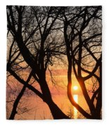 Sunrise Through The Chaos Of Willow Branches Fleece Blanket
