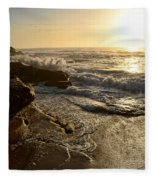 Sunrise Waves On The Rocks By Kaye Menner Fleece Blanket