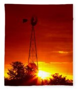Sunrise Windmill 1 A Fleece Blanket